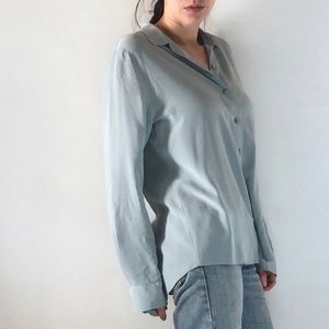 Clean Relaxed Silk Shirt Blue